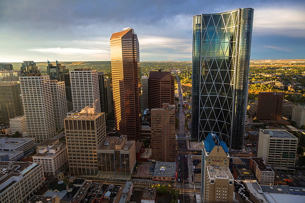 Aerial view of Downtown Calgary with Bow Tower at sunset in Alberta, Canada
