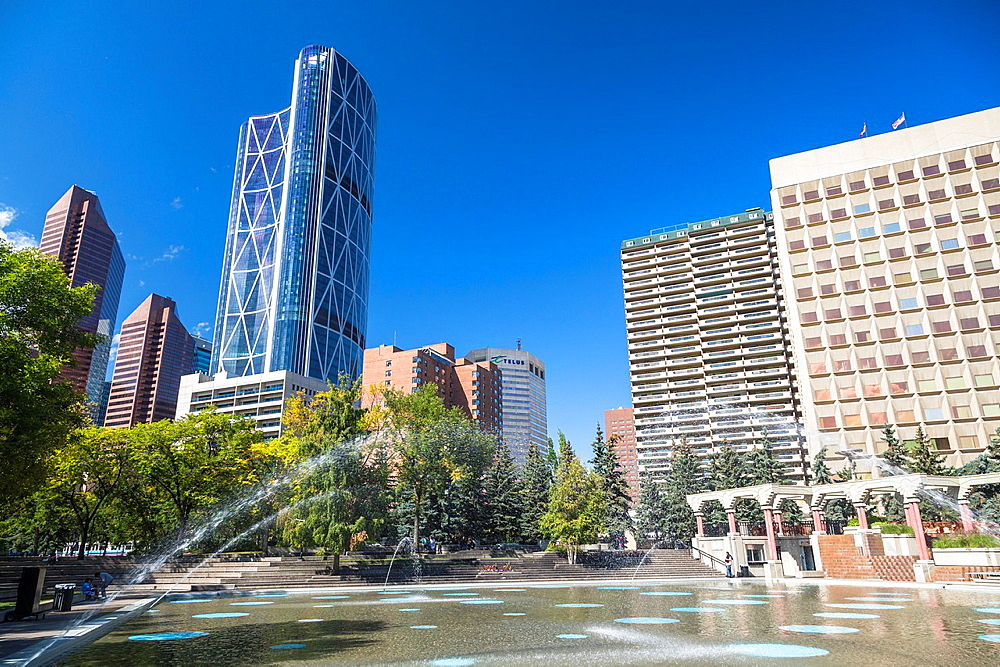 Bow Tower and fountain in the Olympic Plaza, Calgary, Alberta, Canada