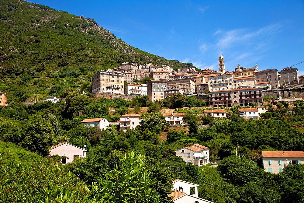 Village of Cervione, east coast of Corsica, France, Europe.