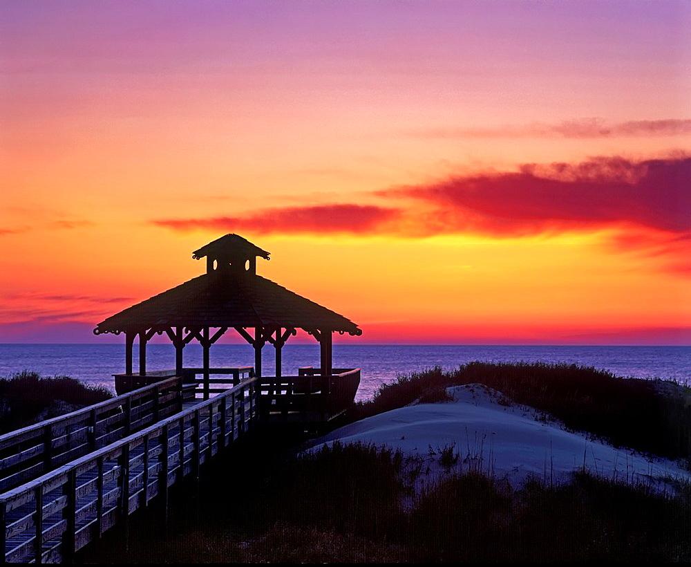 Beachfront gazebo at sunrise, Outer Banks, North Carolina.