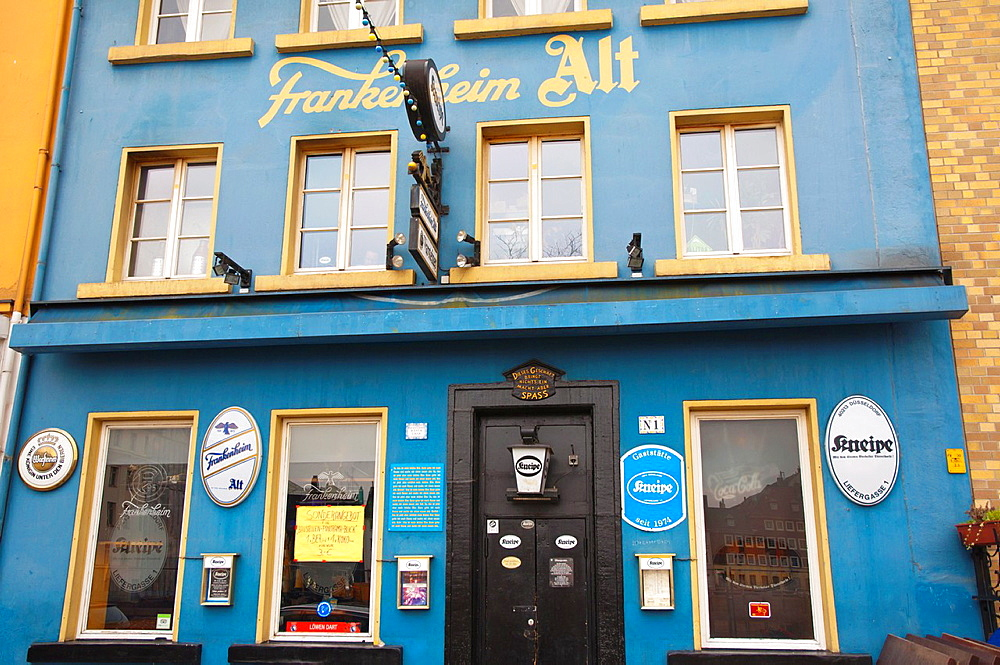 Kneipe bar pub exterior Altstadt the old town Dusseldorf city North Rhine Westphalia region western Germany Europe.