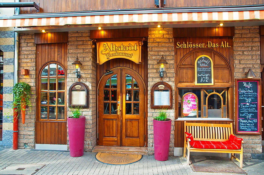 Altstadt restaurant beer hall exterior Berger Strasse the old town Dusseldorf city North Rhine Westphalia region western Germany Europe.