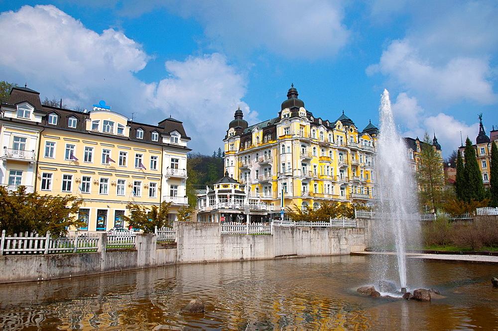Fountain in Spa Gardens park Marianske Lazne aka Marienbad spa town Karlovy vary region Czech Republic Europe.