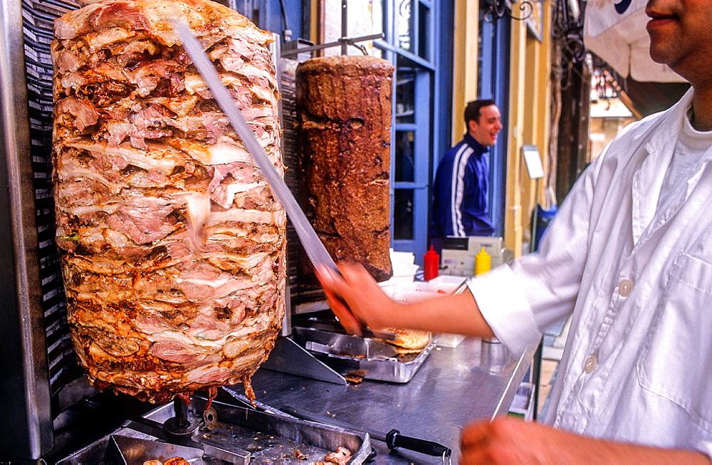 Spiros Bairaktaris Restaurant. In Monastiraki square,2. Soulaki or Pita giros, Athens, Greece, Europe.