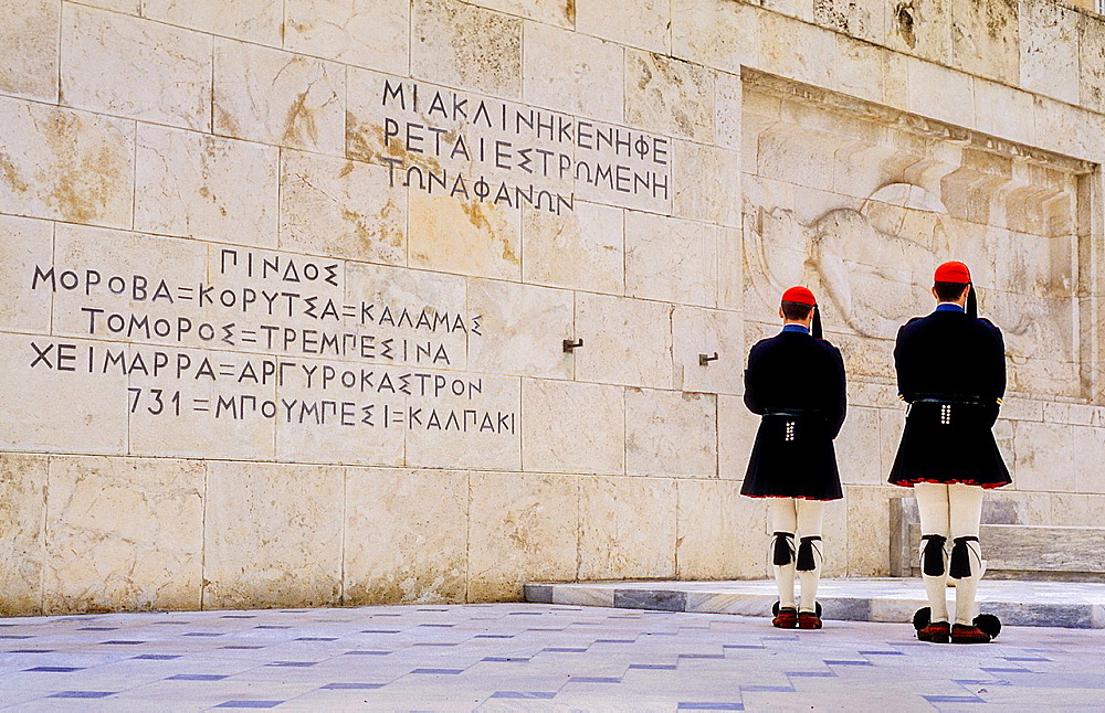 Evzones (soldiers).Changing of guard in front of the parliament house, at the tomb of the unknown soldier. Syntagma square, Athens, Greece, Europe.