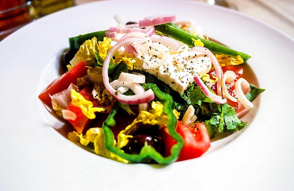 Greek salad. Restaurant Epmeion. Pandrossou street, 15, Athens, Greece, Europe.
