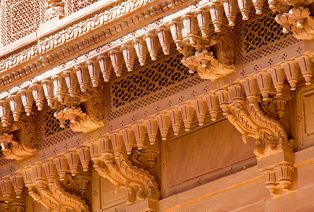 Mehrangarh Fort, exterior details inside of the fort,Jodhpur, Rajasthan, India.