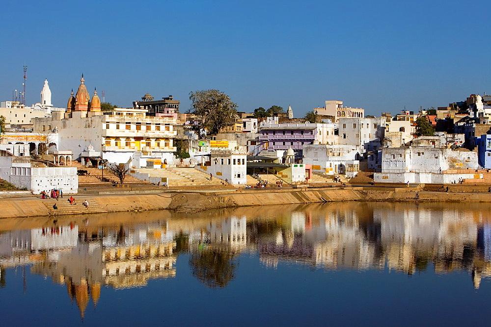 The holy lake and the village of Pushkar,pushkar, Rajasthan, india.