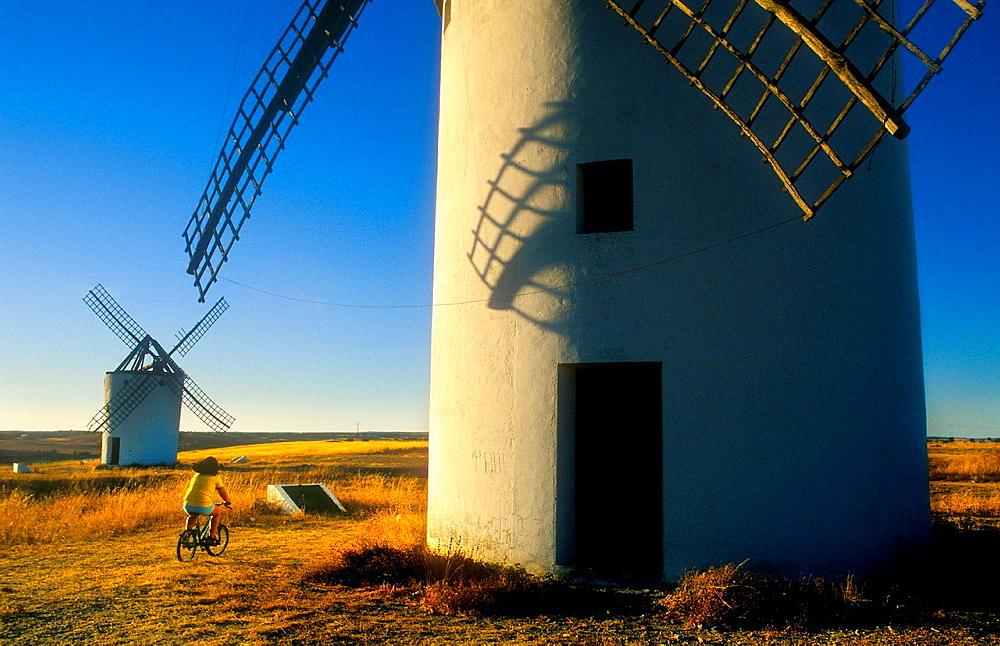Windmills,Mota del Cuervo,Cuenca province,Castilla La Mancha,the route of Don Quixote, Spain.