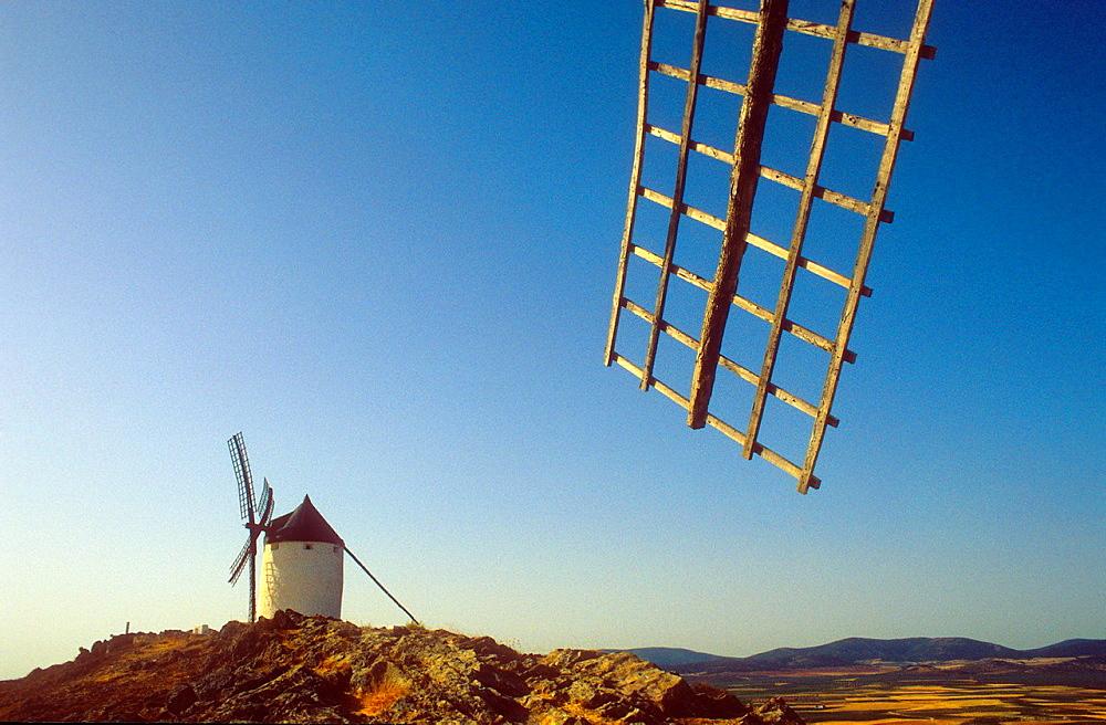 Windmills, Consuegra, province of Toledo,Castilla La Mancha,the route of Don Quixote, Spain.