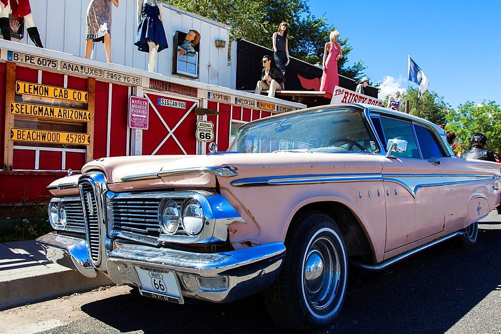 An Old Pink Car, Seligman, Arizona, USA.