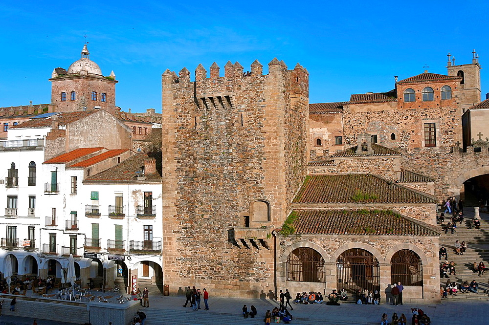 Bujaco tower -12th century and Hermitage of the Peace -18th century, Caceres, Region of Extremadura, Spain.