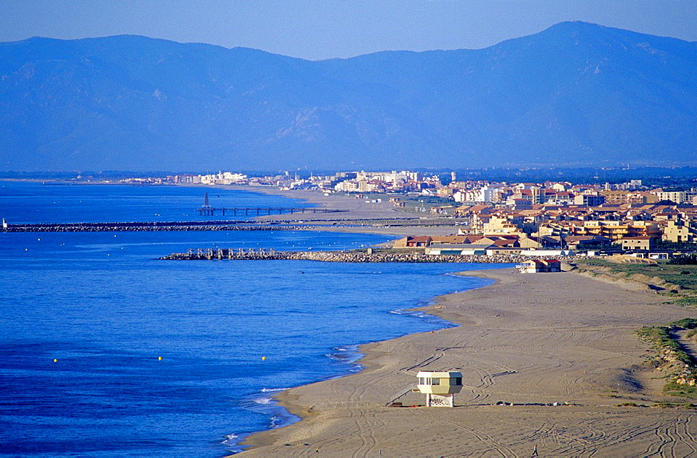 Beach on Radieuse coast and Port Leucate and Port Barcares, Aude/Eastern Pyrenees, Languedoc-Rousillon, France.