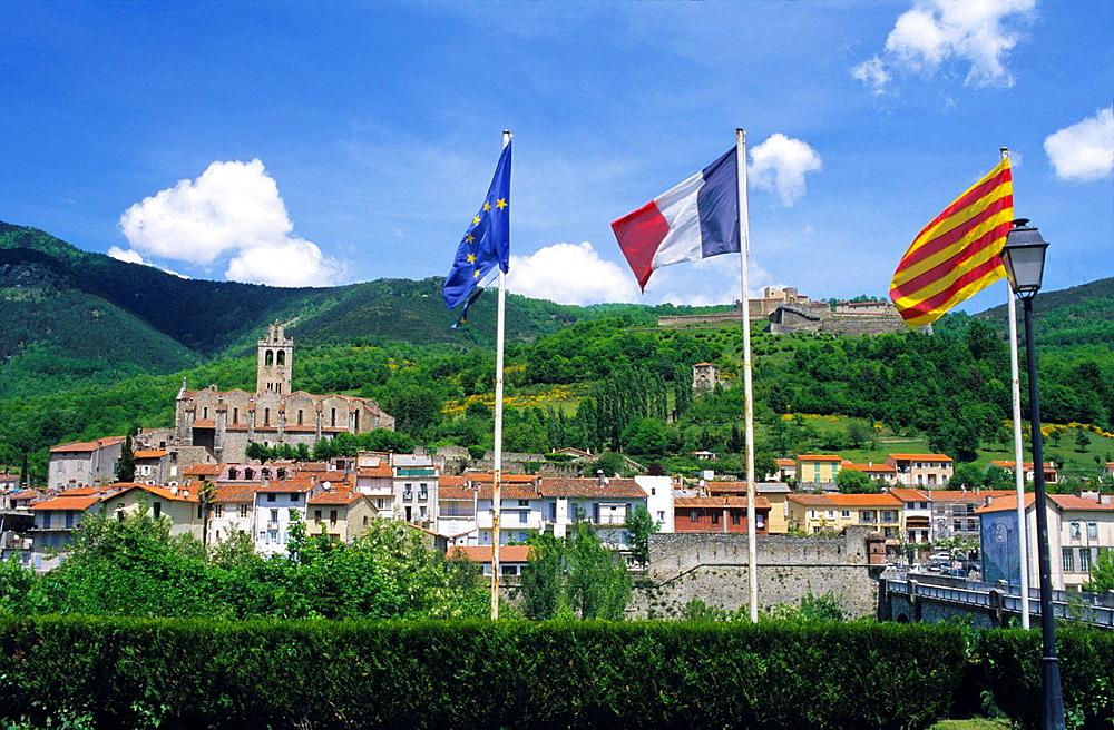 Franch and Catalonia flags, Prats de Mollo la Preste, Eastern Pyrenees, Languedoc-Rousillon, France.