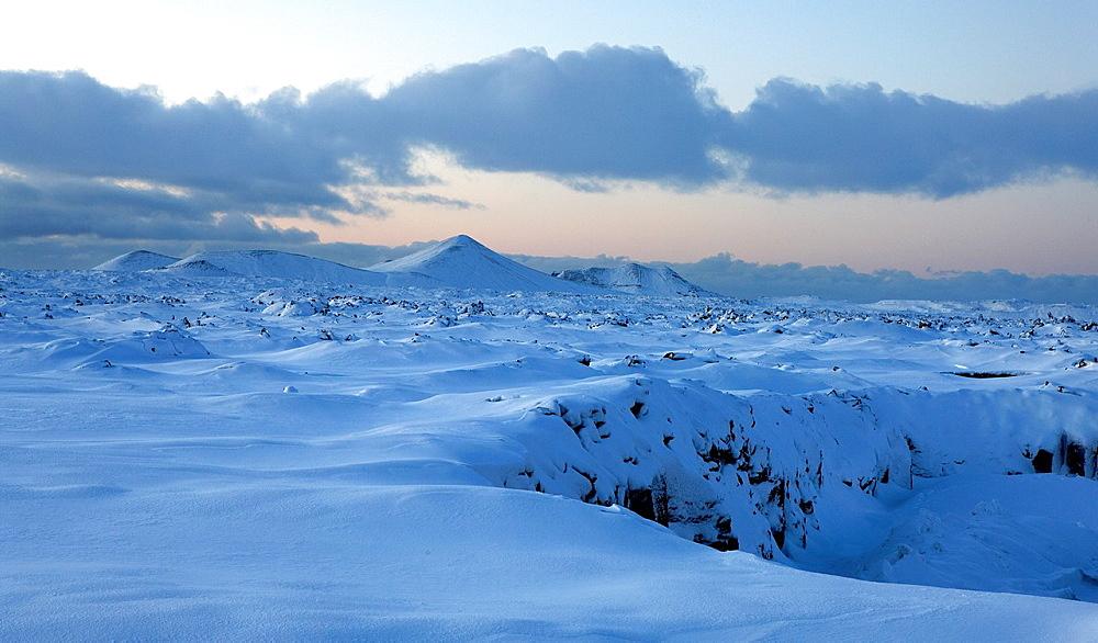 Snow covered lava, Grindavik, Iceland.