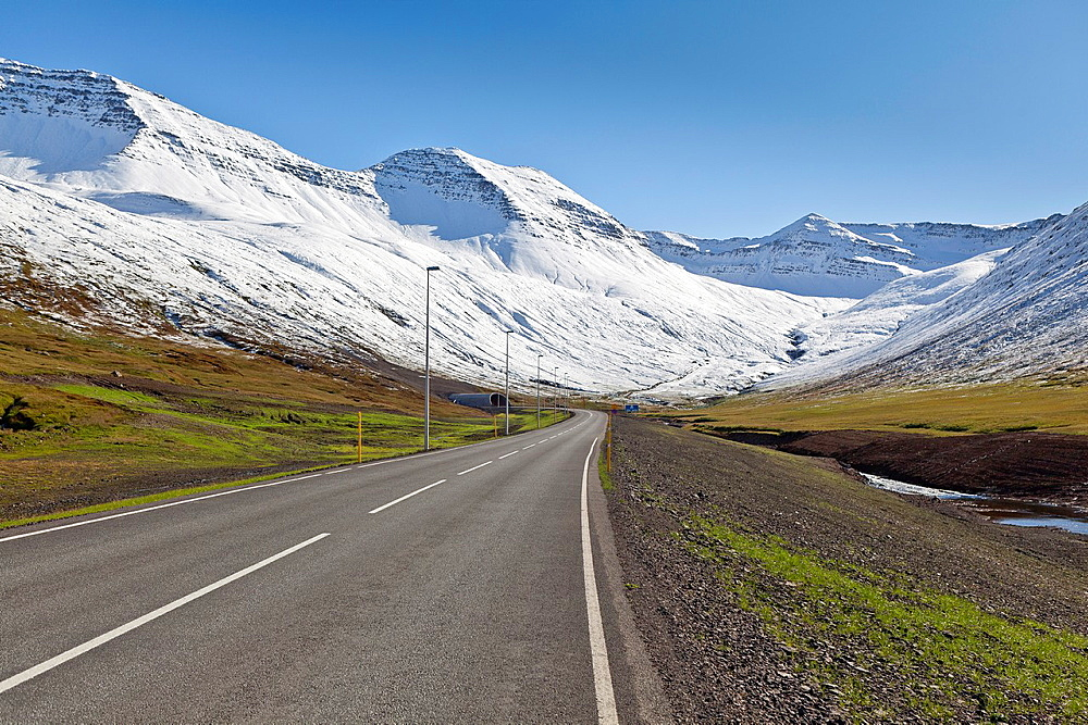 Empty road, Siglufjordur, Iceland.