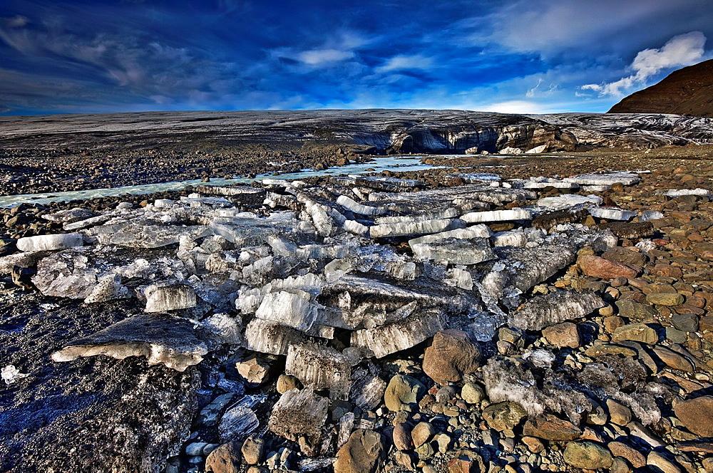 Ice and rock by Breidamerkurjokull, Iceland.