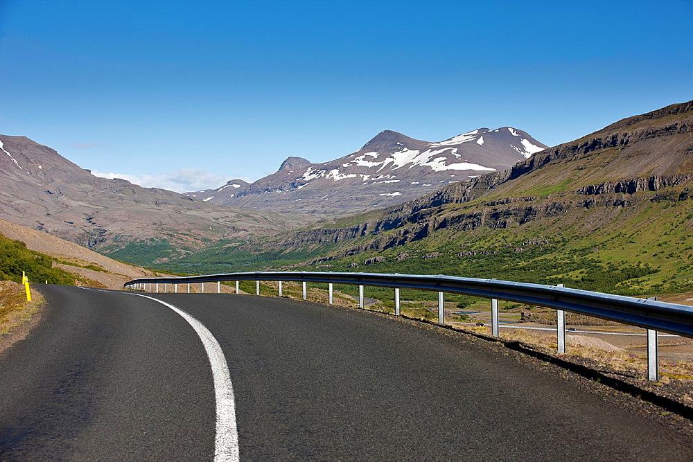 Empty road, Botnsdalur, Hvalfordur, Iceland.