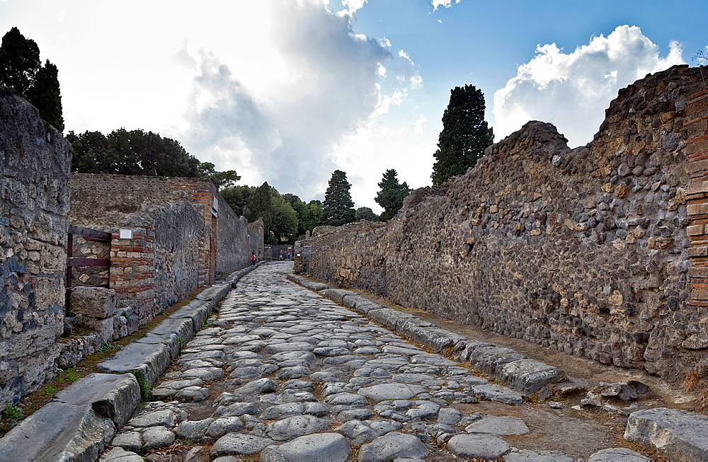 Ancient Street in the Roman site of Pompeii, Campania, Italy.