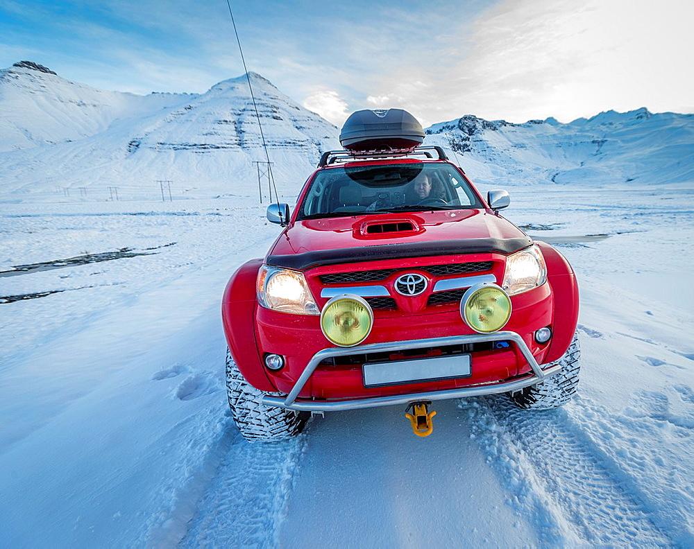 Off road driving in a Toyota Hilux, Kolgrafarfjordur, Snaefellsnes Peninsula, Iceland.
