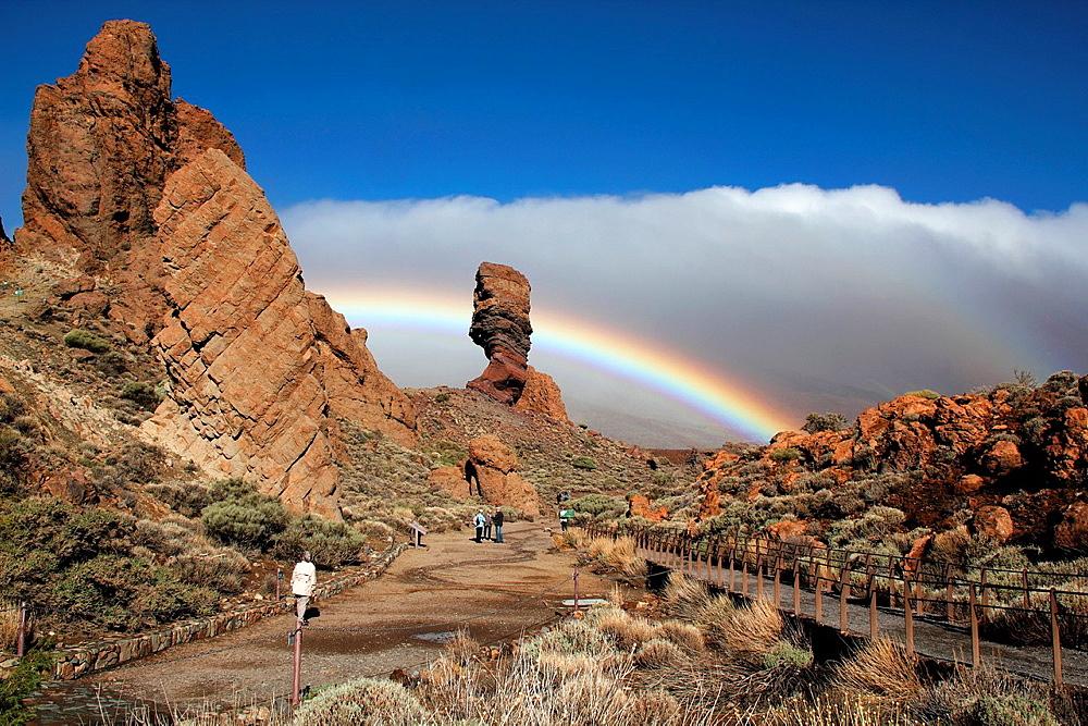 Teide Park with rainbow of Tenerife, Canaries.