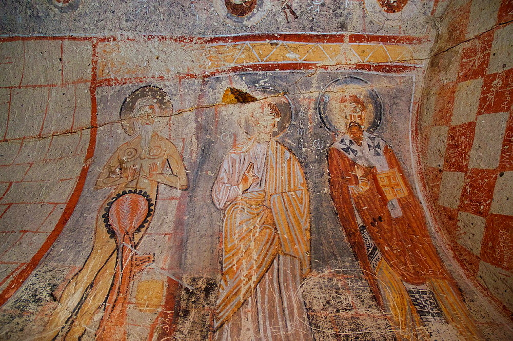 Fresco of St. Onuphorius, in Yilanli church, Goreme Open Air Museum. Cappadocia, Central Anatolia, Turkey.