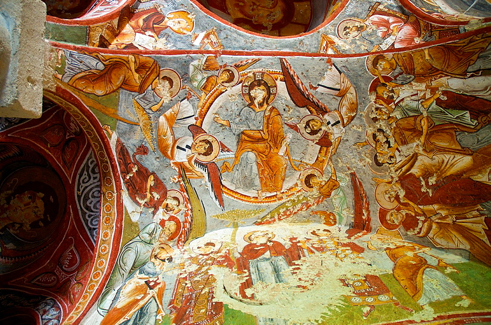 Frescoes in the Carikli kilise Church of Sandals at Goreme Open Air Museum. Cappadocia, Central Anatolia, Turkey.