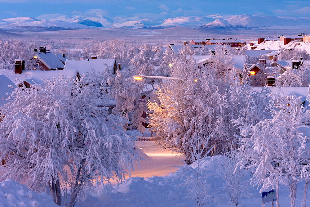 Kiruna in Swedish lapland with mountains in the background in winter time.