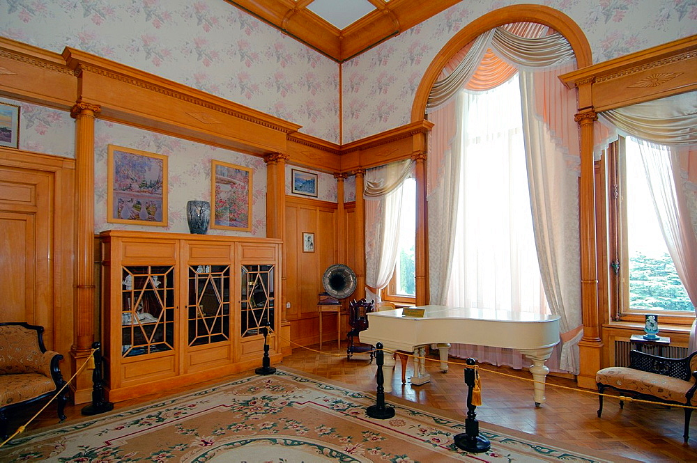 The music room in the Grand Livadia Palace - summer palace of the last Russian Imperial family, the Greater Yalta, Crimea, Ukraine, Eastern Europe.