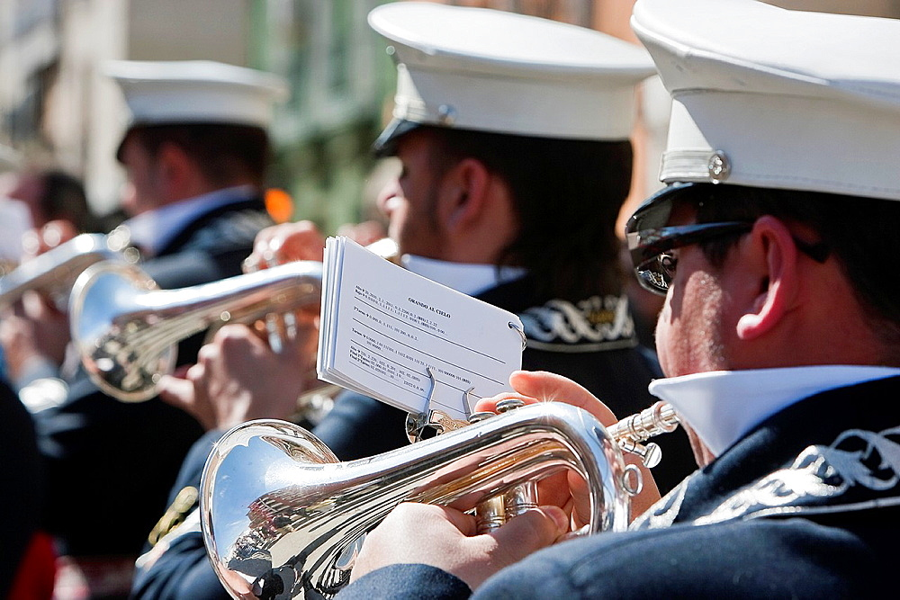Brass band musicians, Palm Sunday, this band wears the uniform of Captain of Squad of the Royal escort of Alfonso XIII, Linares, Jaen province, Spain.
