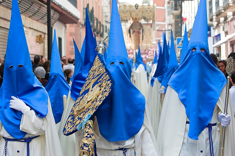 Brotherhood of our father Jesus resurrected during procession of Holy Week on Sunday of resurrection, Linares, Jazn province, Andalusia, Spain.