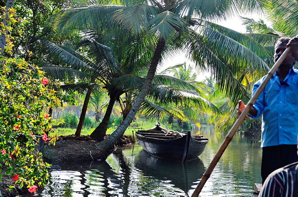 Backwater tour on Monroe Island, Kollam, Kerala, India.
