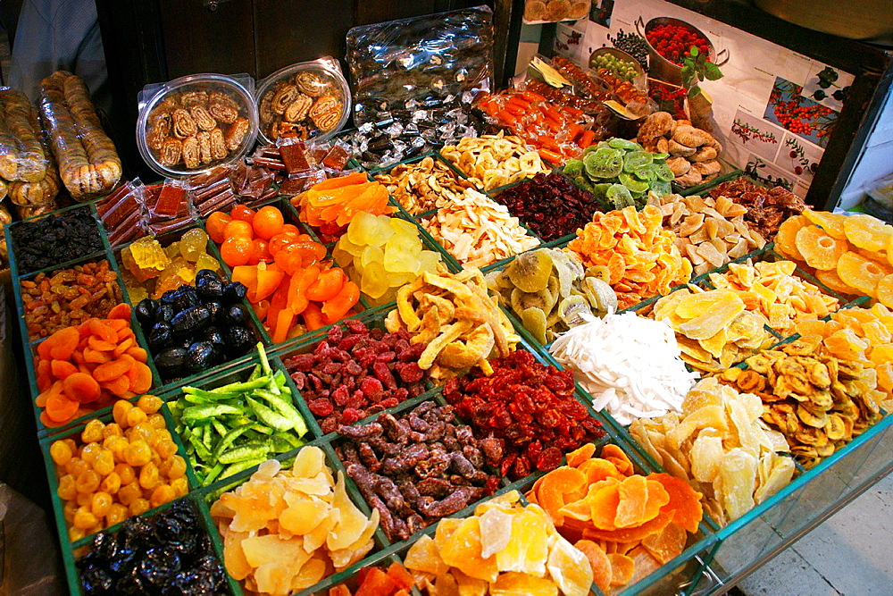 Candy fruits at the Al-Bzouriye souq, Damascus, Syria
