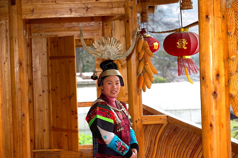 China, Guizhou province, Qingman village, Green Miao ethnic minority in traditional dress.