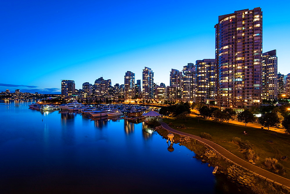 apartment buidings on the north shore of False Creek at night, Vancouver, BC, Canada.