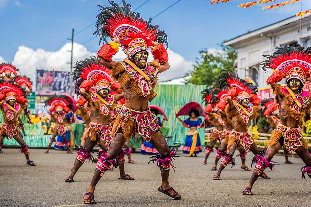 Participants of the dance contest during the celebration of Dinagyang in homage to 'The Santo Nino', the patron saint of many Philippino cities. Iloilo, Philippines.