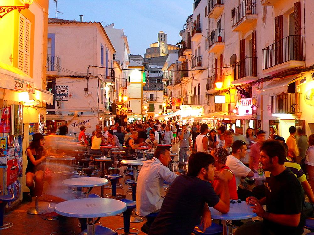 Night life at Sa Penya district. Ibiza, Balearic Islands. Spain.
