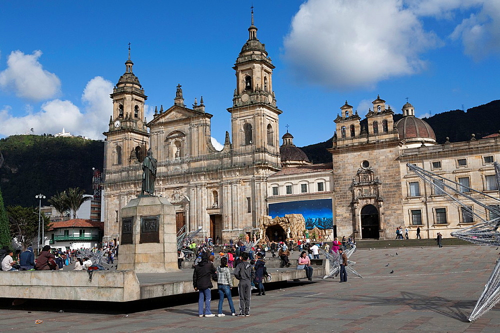 The Catedral and Capilla del Sagrario, Plaza Bolivar, La Candelaria, Bogota, Colombia.