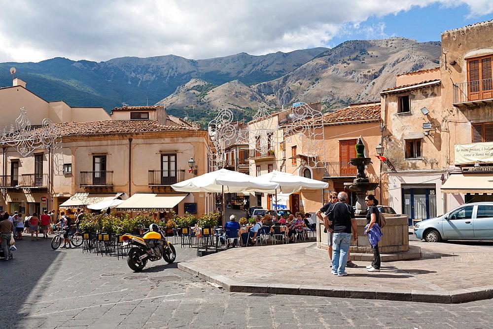 Piazza Margherita, Castelbuono, Sicily, Italy.