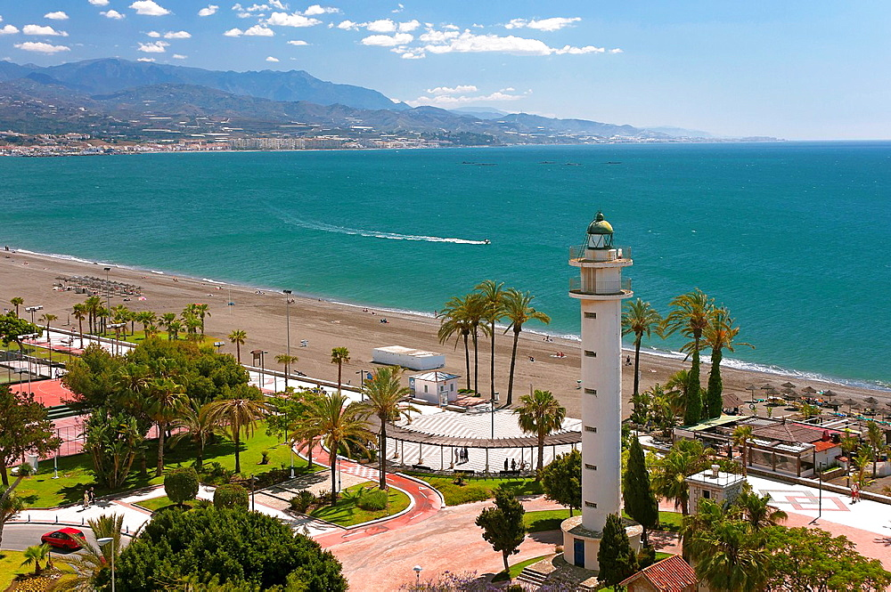 Beach and the lighthouse, Torre del Mar, Malaga-province, Andalusia, Spain, Europe.