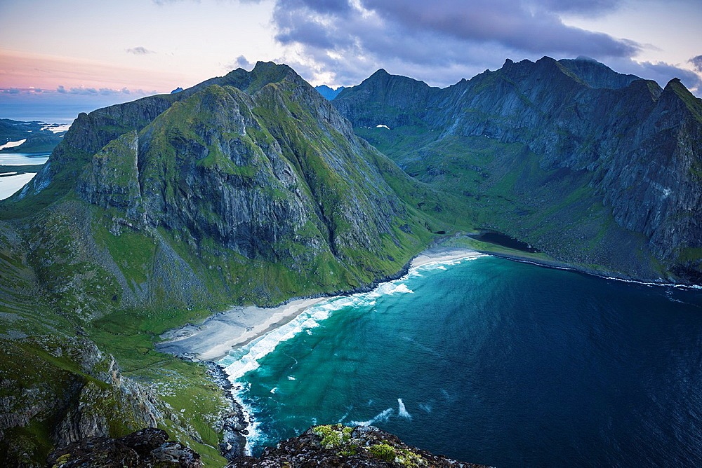 Looking down on Kvalvika beach from near summit of Ryten, Lofoten Islands, Norway.