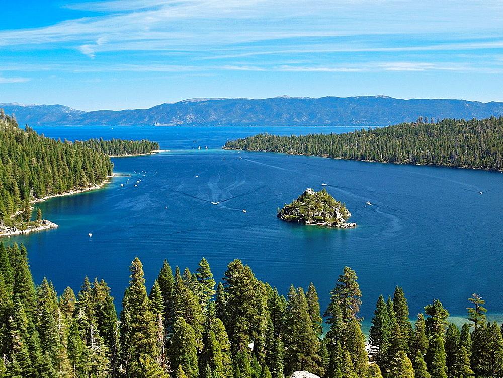 Fannette Island in Emerald Bay. Lake Tahoe, California. Fannette Island is the only island in Lake Tahoe.
