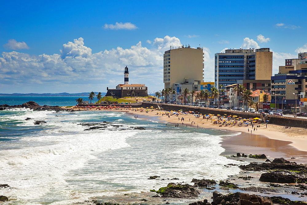 Farol da Barra lighthouse and beach, Salvador, Bahia, Brazil