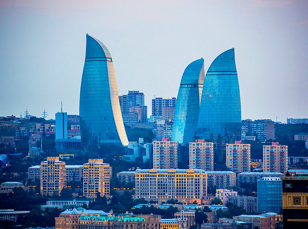 Azerbaijan, Baku City, Sunset, Flame Towers.