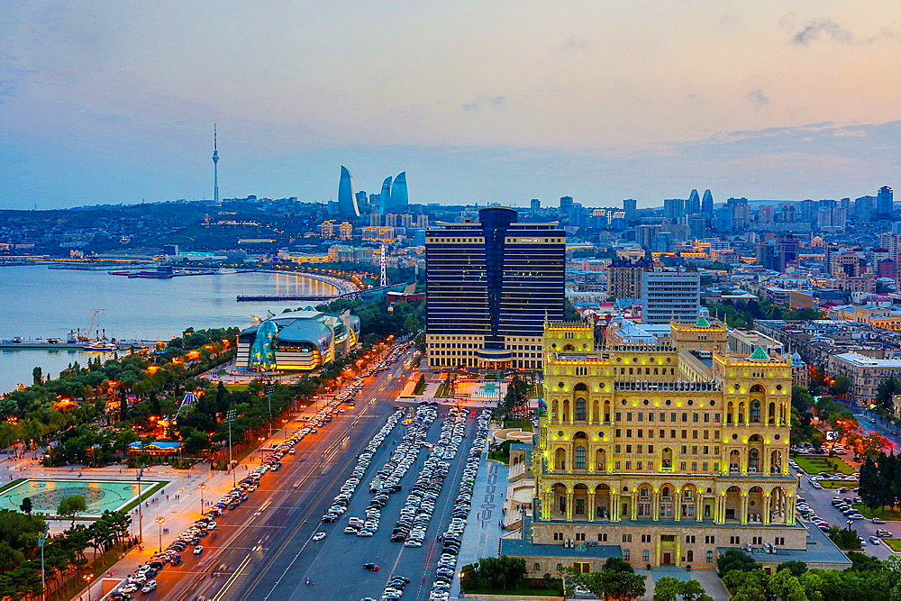 Azerbaijan, Baku City, Government House and Baku Bay.
