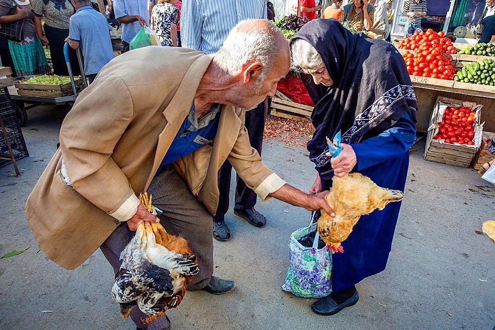 Azerbaijan, Qakh City, Local Market.