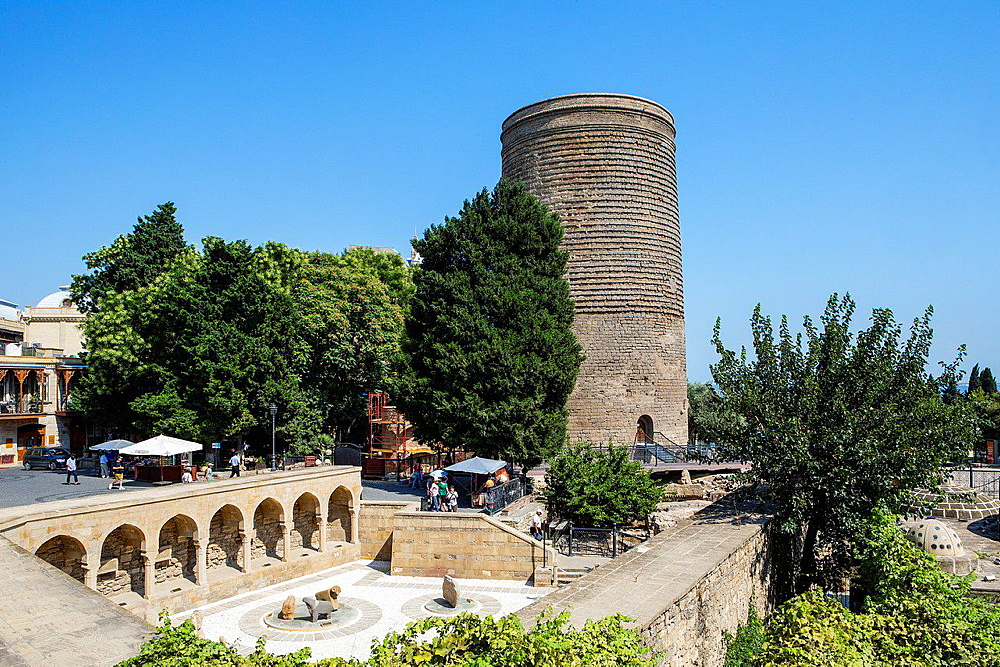 Azerbaijan, Baku City, Old Baku City (W.H.), The Old Bazar and Maiden Tower.