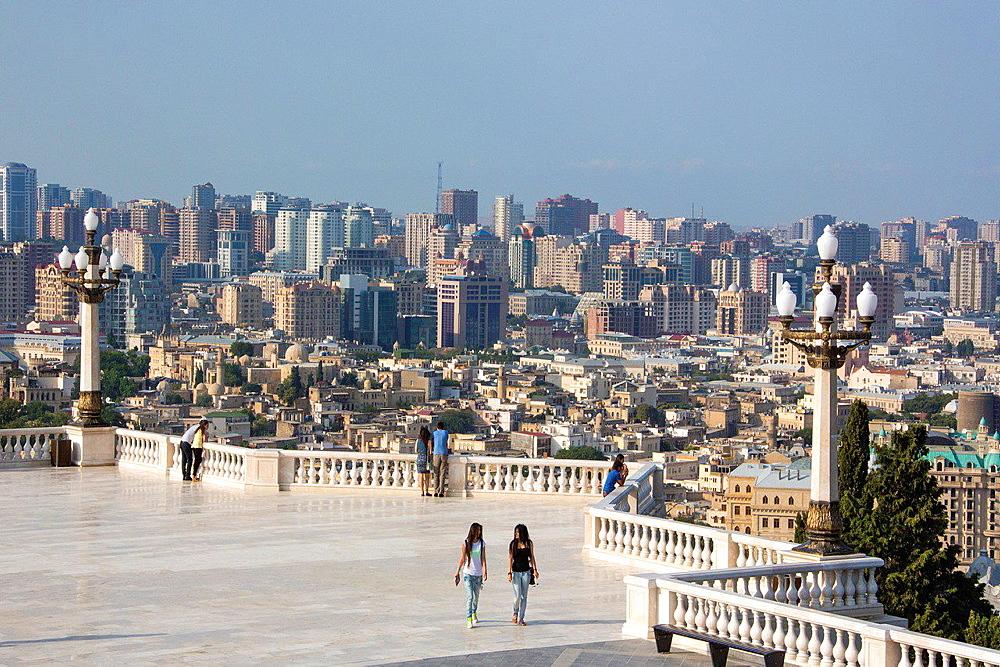Azerbaijan, Baku City, Old Baku at foreground.