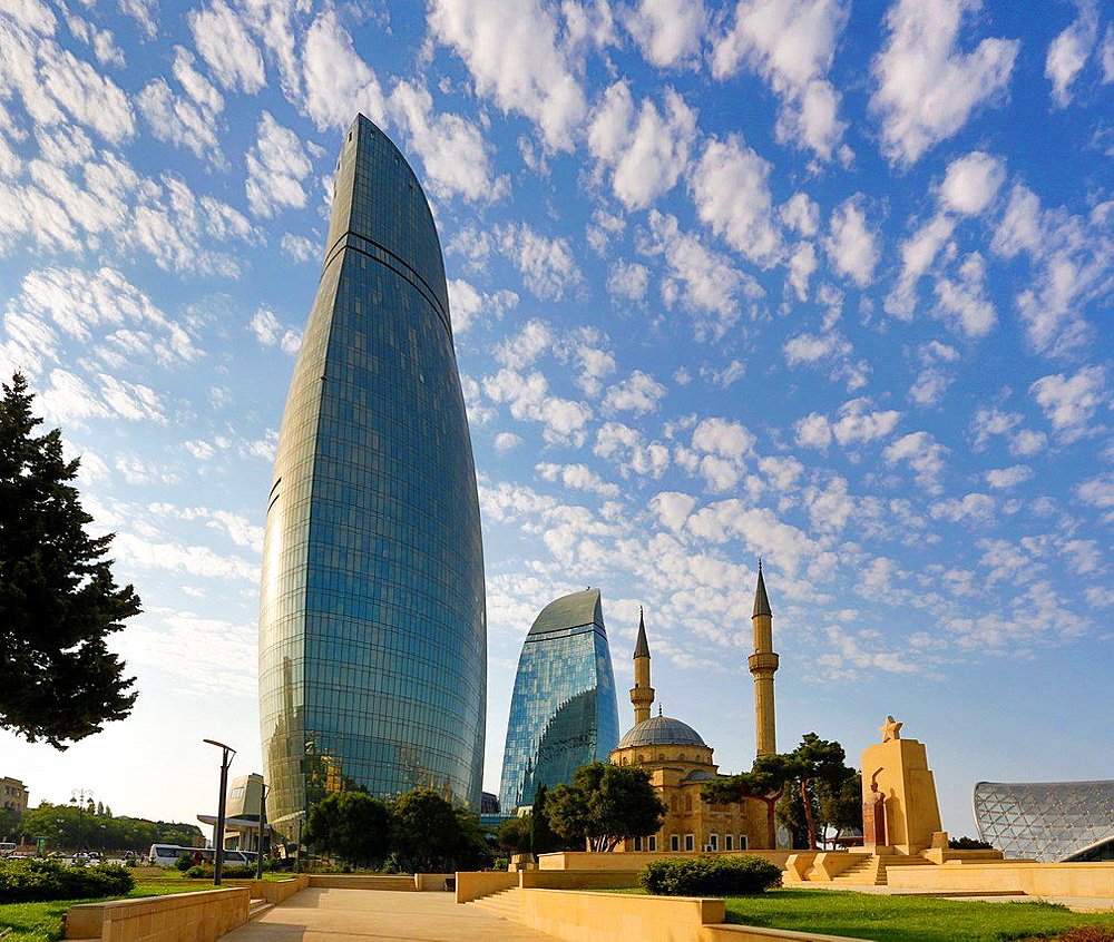 Azerbaijan, Baku City, Flame towers and Shakhidlar Mosque and Flame Towers.
