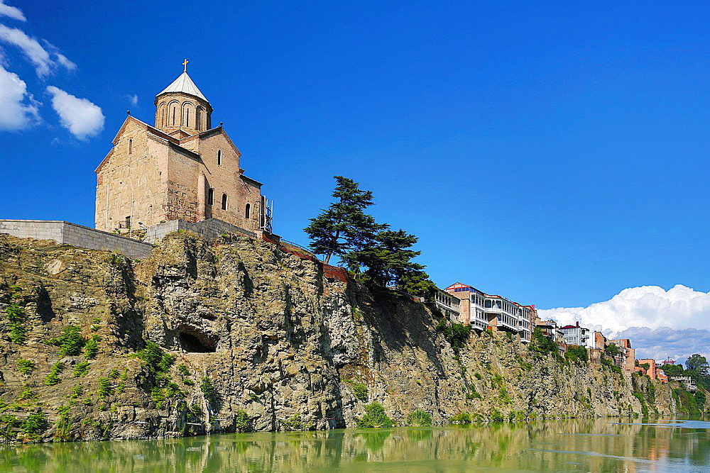 Georgia ,Tbilisi City, Metekhi Church, Mtkvari River.